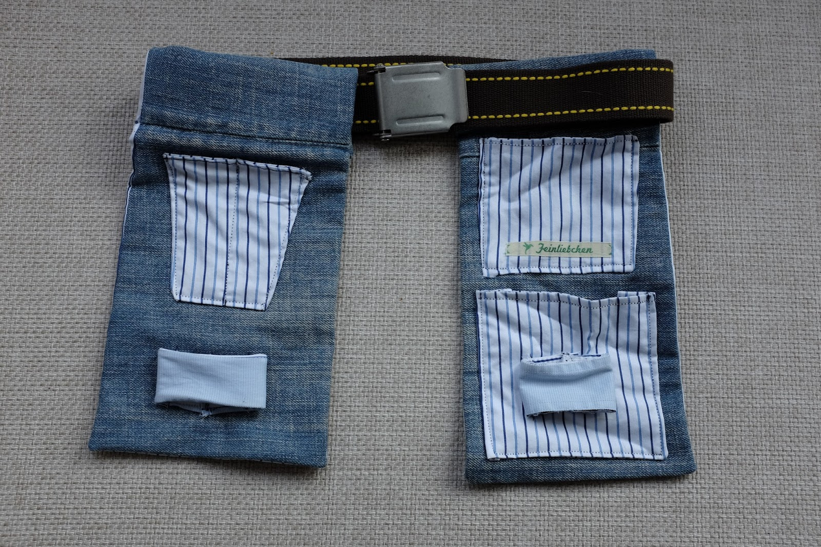 werkzeugg rtel aus jeans fuchsgestreift. Black Bedroom Furniture Sets. Home Design Ideas