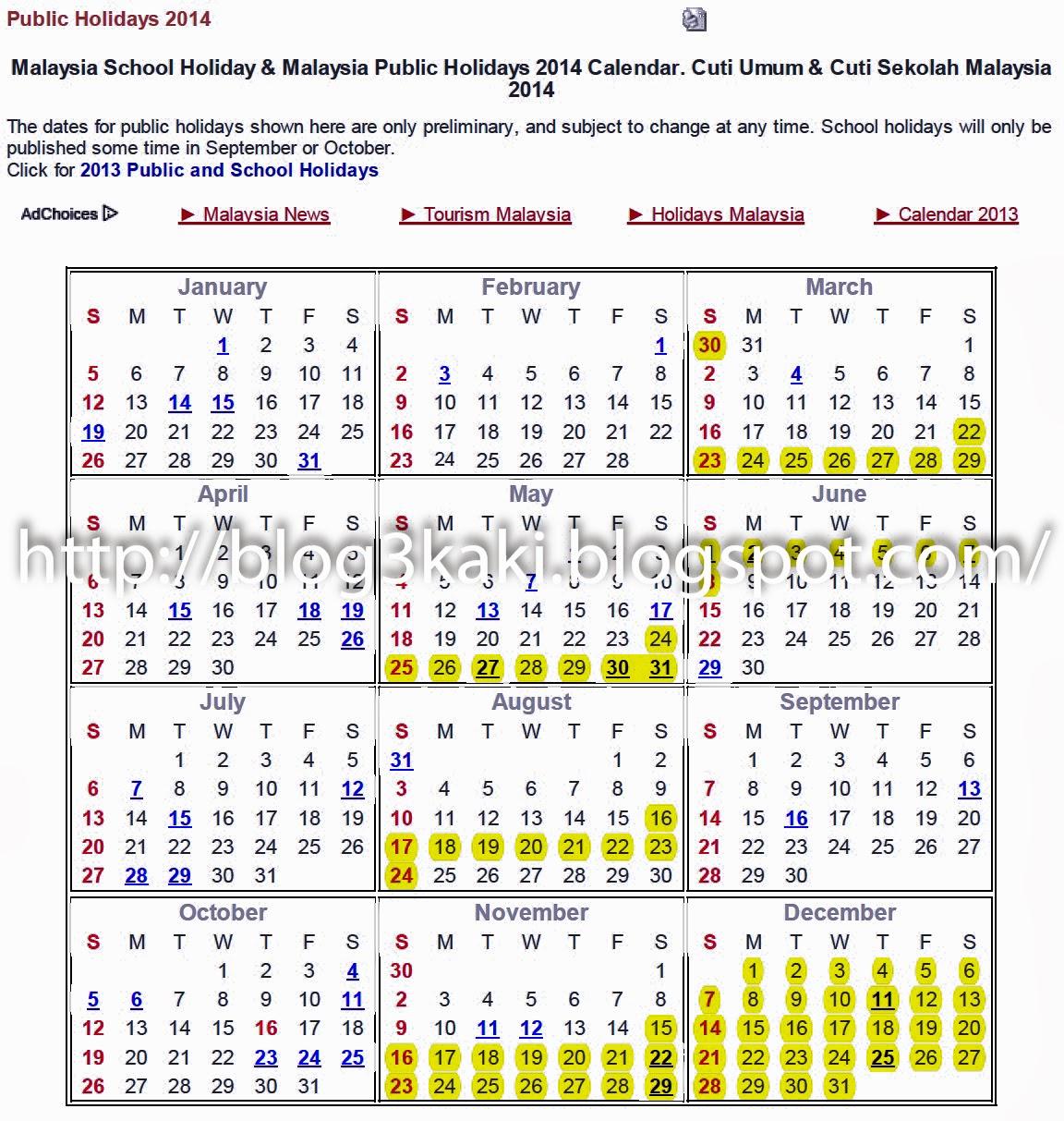 blog 3 kaki: Kalender Cuti Umum 2014