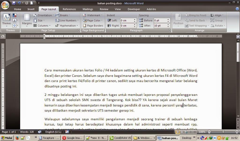 Cara Mengatur Ukuran Kertas F4 | Folio di Microsoft Word