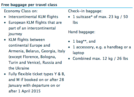 Image Gallery klm baggage allowance