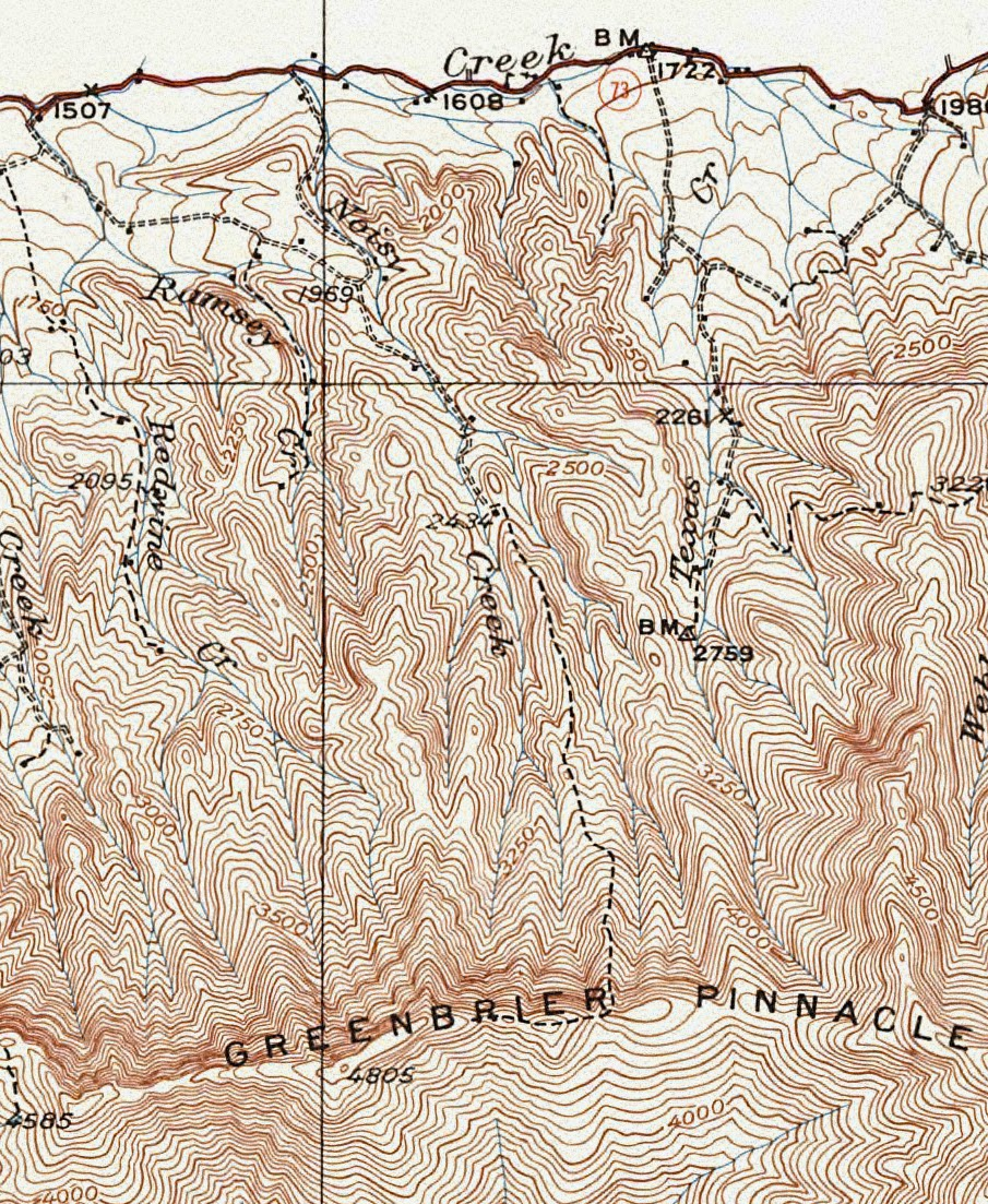 few times and knew that there were several home places and i had never been on the old trail which the 1931 map shows going all the way to the pinnacle