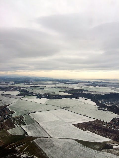 snow covered fields in Prague