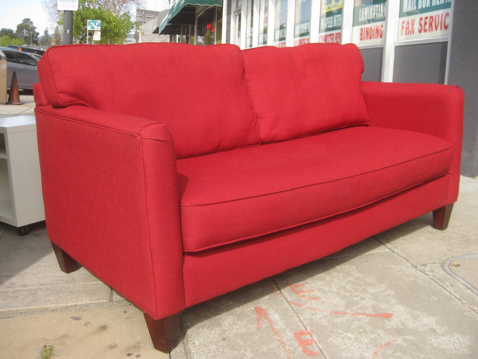 UHURU FURNITURE & COLLECTIBLES SOLD Bauhaus Red Sofa $320