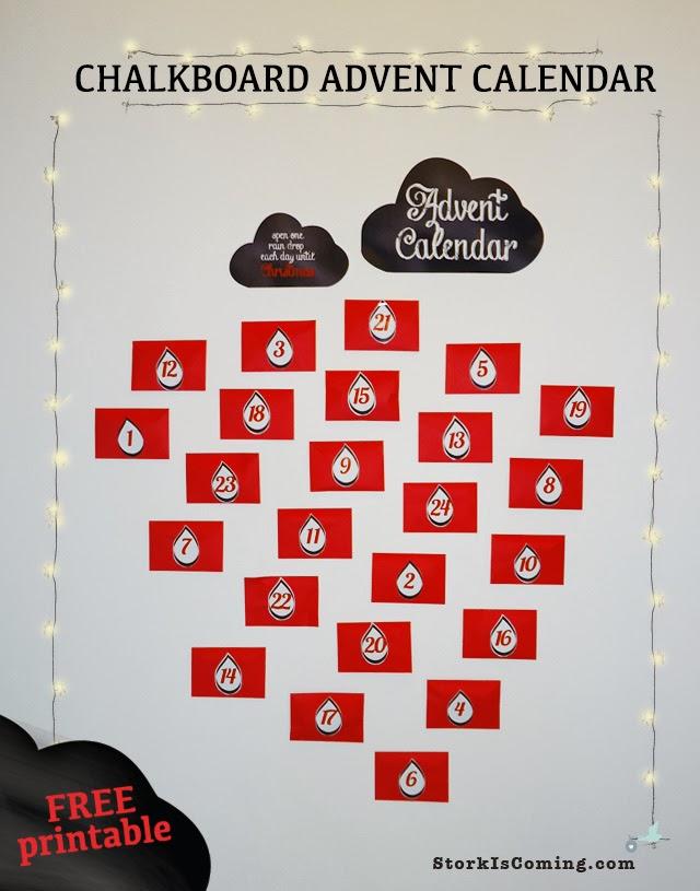FREE printable chalkboard advent calendar