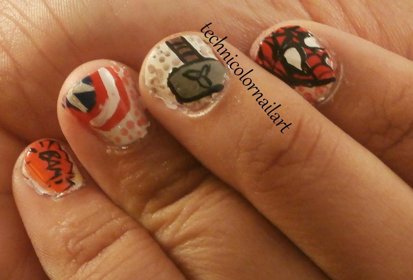 Technicolor Nail Art: FingerFood Theme Buffet: Marvel Comic Nails!
