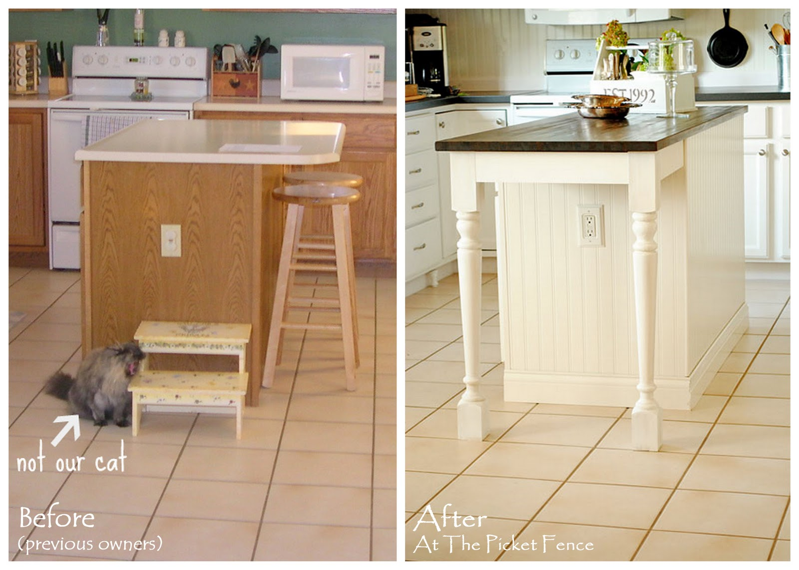 My kitchen island transformation part one at the for Making a kitchen island from cabinets