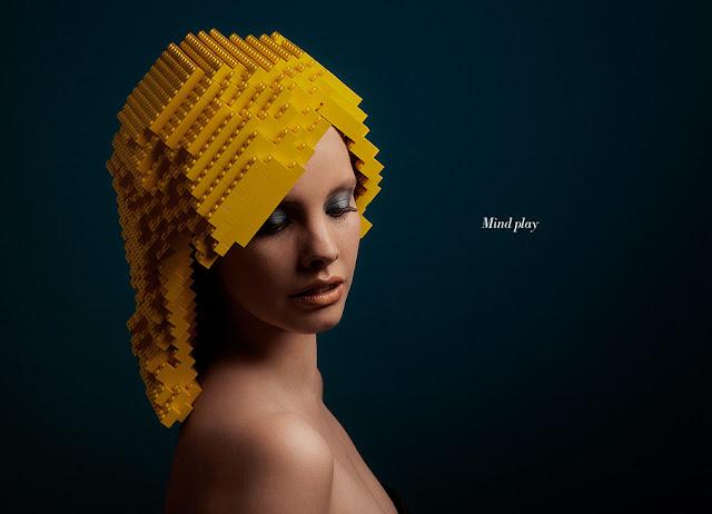 Pelucas de piezas de Lego-Afro,wigs made from lego bricks