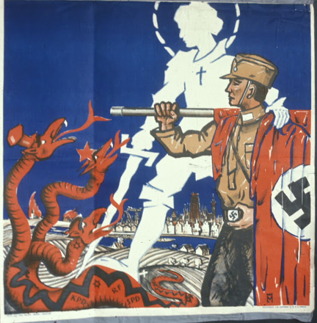 Nazi Propaganda poster: St. George dragon Slayer snake jew communist socialist