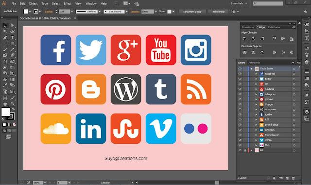 New 15 Social Media icon set Free Download