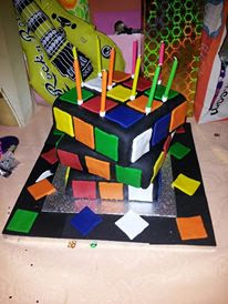 Retro 80's Rubix Cube Cake