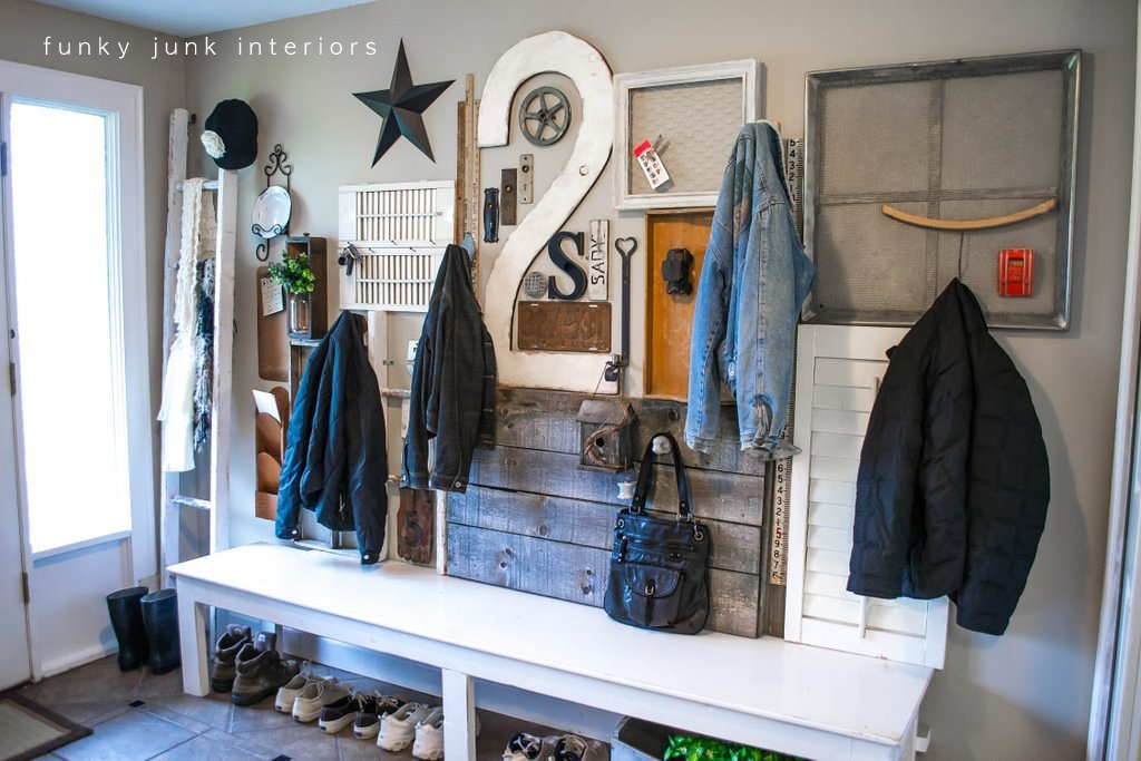 Cute Wall art with junk for coats a unique entryway by FunkyJunkInteriors net