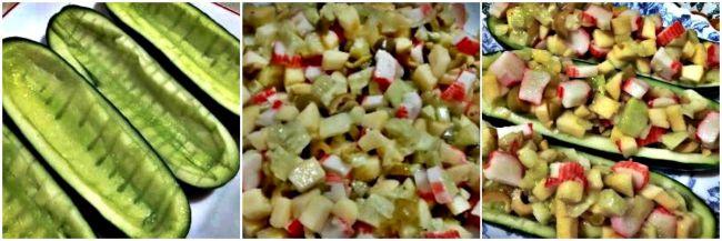 Preparación de la ensalada divertida de pepino