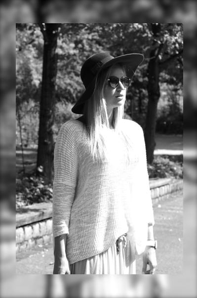 Herbsttrend Schlapphut, Sonnenbrille, Hippie-Look