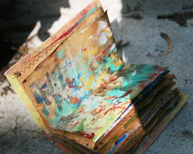 Art Journal of recycled cereal boxes, paper bags and fun. Inside page.