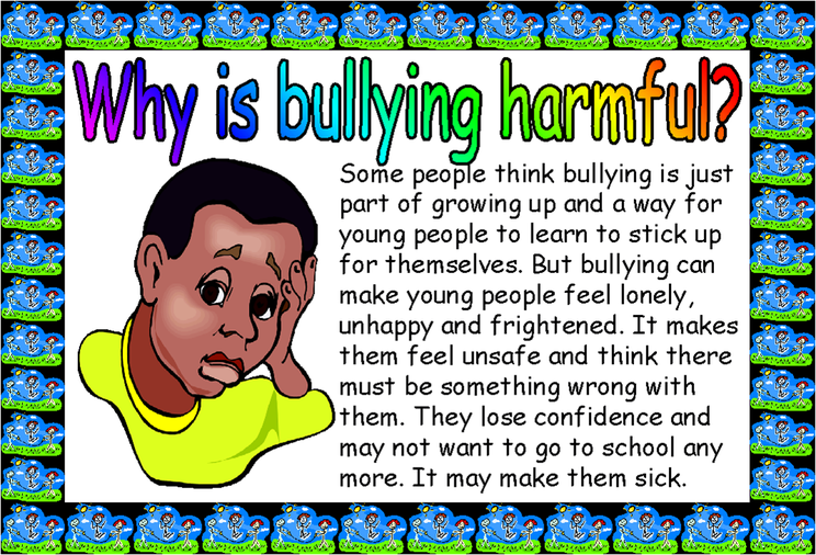 why bullying is bad essay My three reasons why bullying is bad is because it could bring the child's self-esteem down, the child who is being bullied has too much pressure on themselves, and it could lead the child to commit suicide.