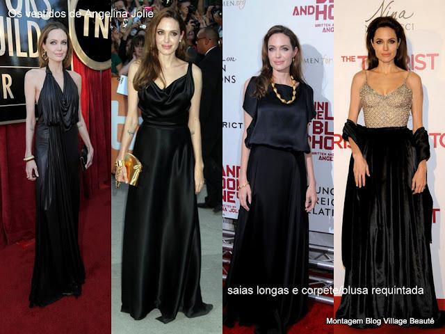 Vestidos pretos longos da Angelina JOlie