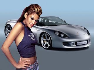 Fond ecran femme et voiture