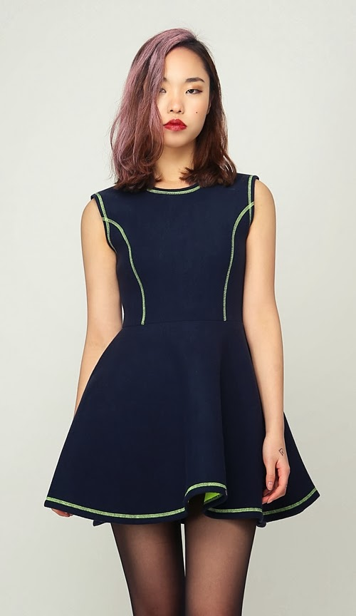 Stitch Neoprene Sleeveless Dress