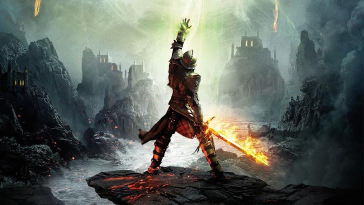 Warrior Flaming Sword Dragon Age 3