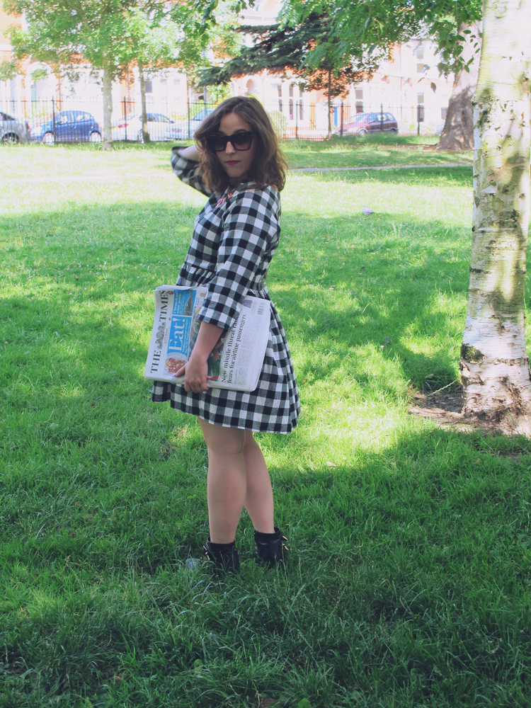ASOS petite black and white check smock dress