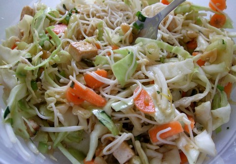 Vermicelli Cabbage Salad with Fried Cottage Cheese