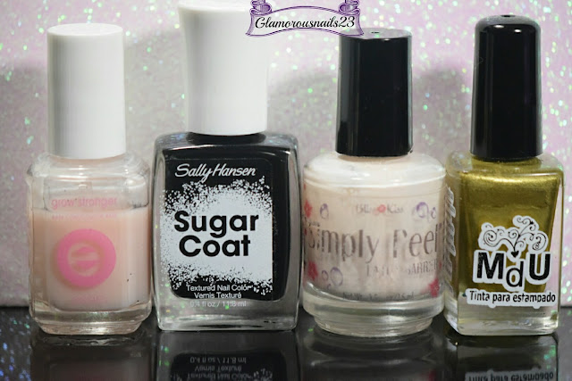 Essie Grow Stronger, Sally Hansen Sugar Coat Lick-O-Rich, Bliss Kiss Simply Peel Latex Barrier, Mundo De Unas Gold