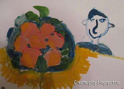 детский рисунок мандарины