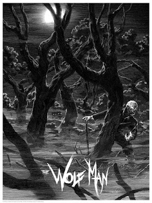 Universal Classic Monsters Screen Print Set by Nicolas Delort & Dark Hall Mansion - The Wolfman