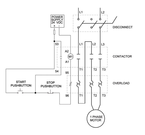 Wiring Diagram For A 3 Phase Motor Starter : Wiring diagram chapter full voltage single phase motors