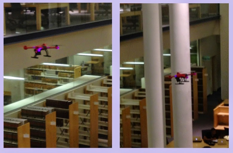 2 snapshots of small red drone in library