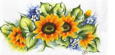 pintura em tecido flores girassol pano de prato