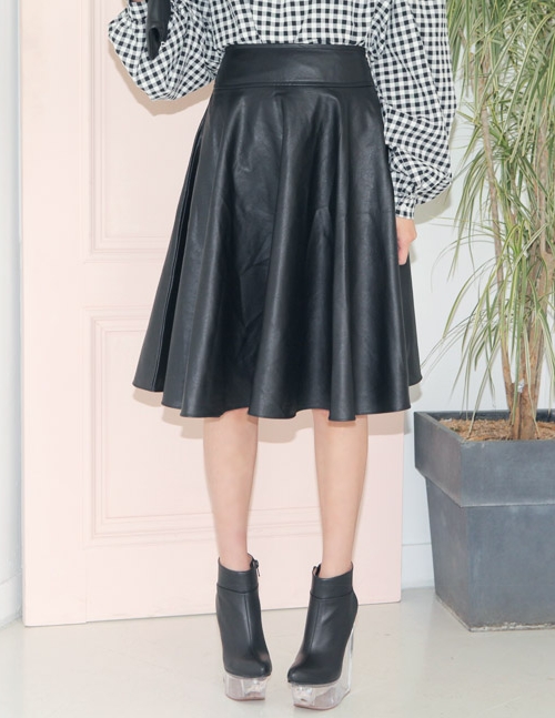 Stylenanda] Flared Midi Leather Skirt | KSTYLICK - Latest Korean ...
