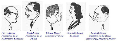 Caricaturas de Pierre Biscay, Raúl de Ory, Claude Hugot, Chantal Chaudé de Silans y Louis Betbeder.