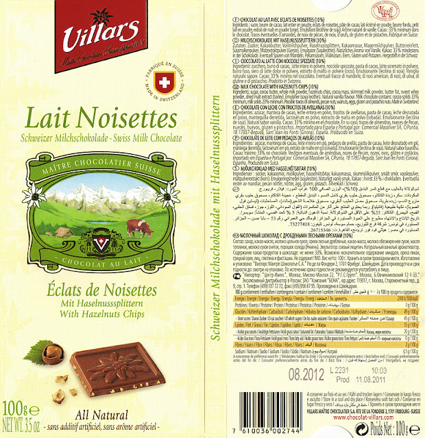 tablette de chocolat lait gourmand villars lait eclats de noisettes