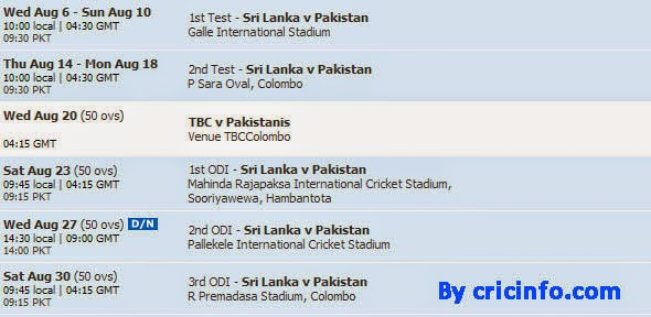 Sri Lanka vs Pakistan tests and ODI matches schedule