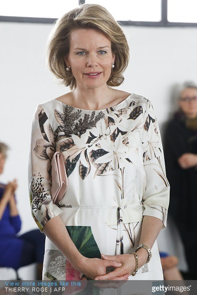 Belgium's Queen Mathilde visits the exhibition Work/Travail/Arbeid by Anne Teresa De Keersmaeker in collaboration with Rosas at the contemporary art center Wiels in Brussels on May 8, 2015