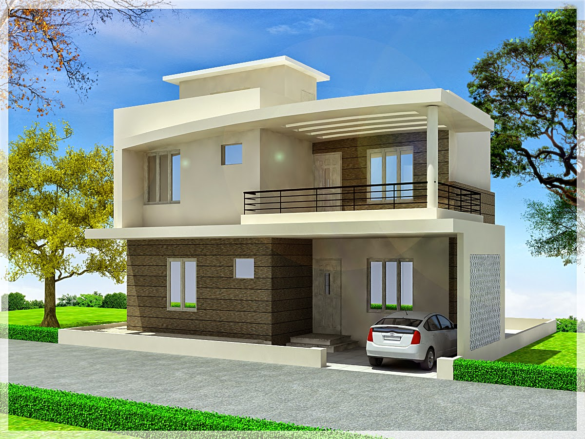 3d front elevation apna ghar commercial plaza joy studio for Duplex house front elevation pictures