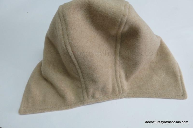 corte y confección de un gorro o capucha