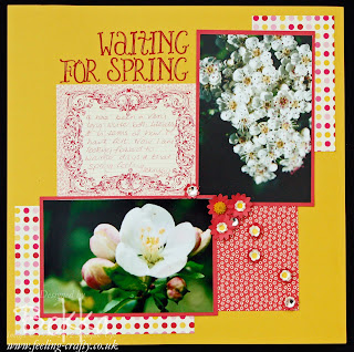 Waiting for Spring Scrapbook Page by Bekka Prideaux for the Feeling Crafty Scrapbook Club.  Check it out - you can get a kit posted to you ever month!