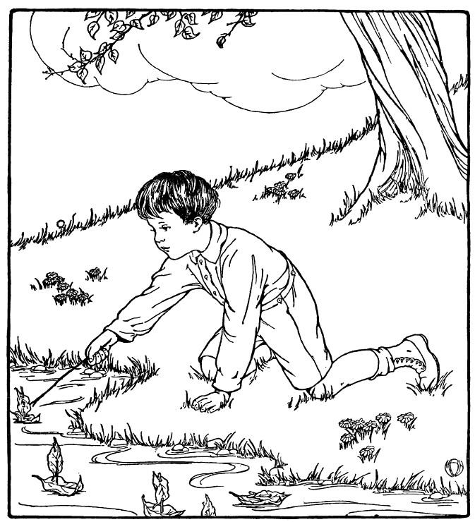 niño en rio para imprimir