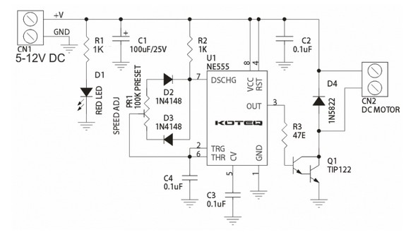 How To Build 555 Based Dc Motor Speed Controller Elcohow