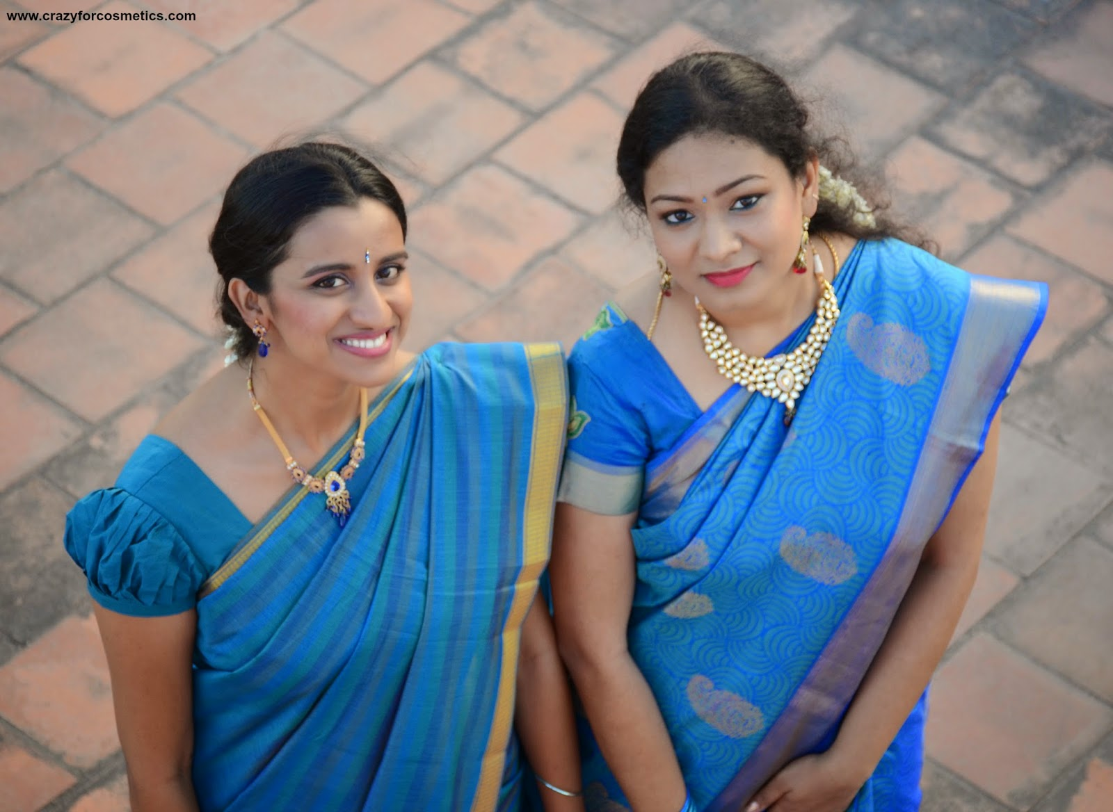 MS blue silk saree from KAnchipuram Prakash Silks