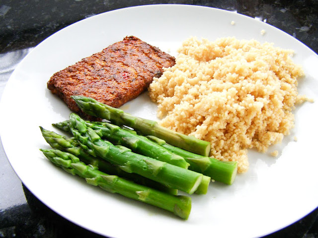... fried on the side of Tomato and Herb Couscous and Steamed Asparagus