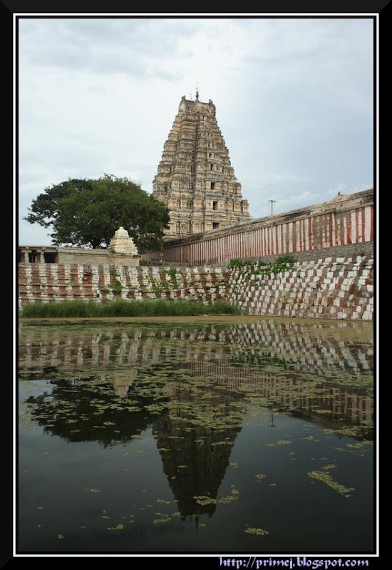 Reflection of the Virupaksha Temple Tower