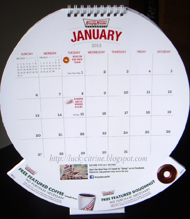 Lucky Citrine: Krispy Kreme 2013 Calendar (With Awesome Freebies ...