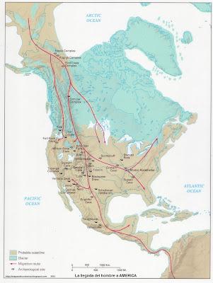 Mapa de La llegada del hombre a America 8000 aC