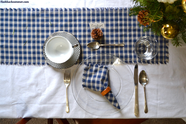Flashback Summer: January Vintage Table Setting - pinecones, navy plaid