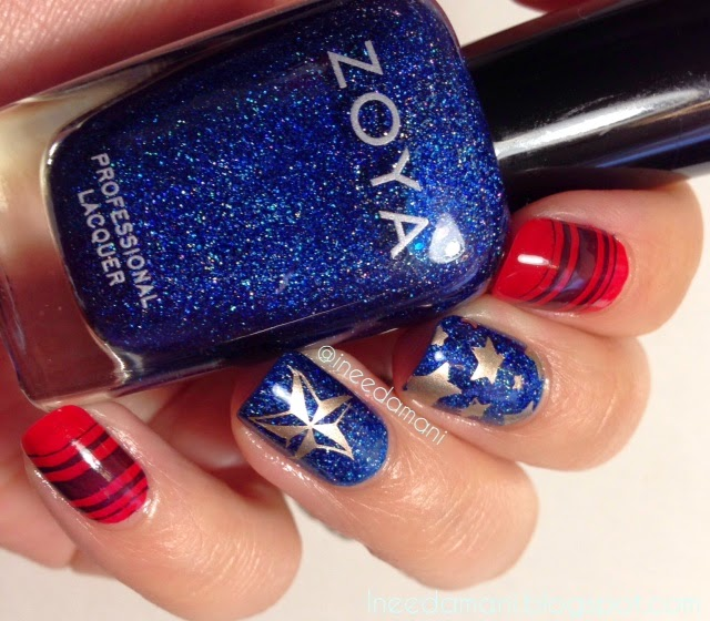 zoya dream stars and stripes nail stamping nails