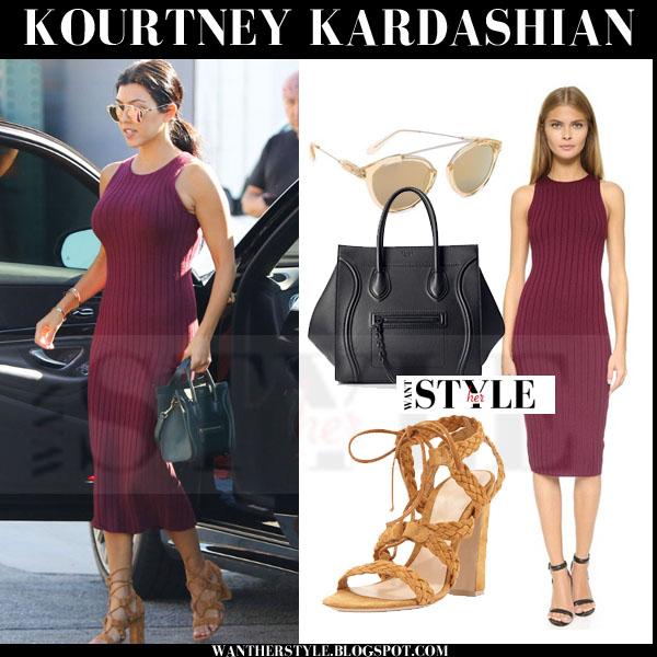 Kourtney Kardashian in burgundy red ronny kobo varvana midi dress and brown sandals what she wore streetstyle
