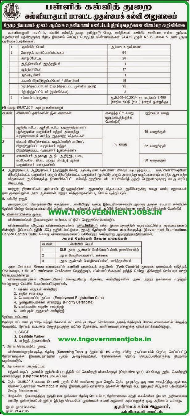 Kanyakumari District CEO Lab Asst Recruitments 2015 (www.tngovernmentjobs.in)